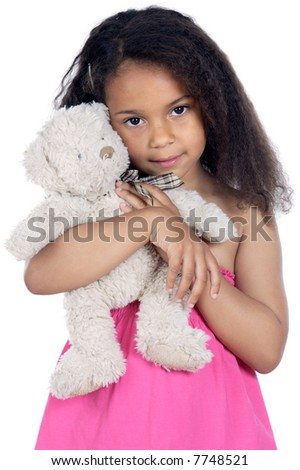 Cute girl with teddy bear over white background