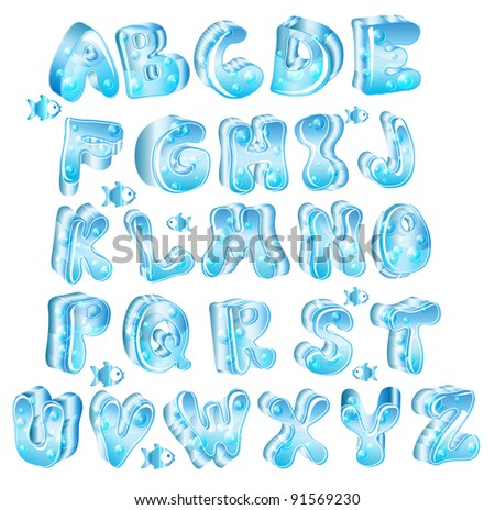 Cute glossy blue alphabet with drops and fish