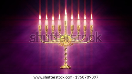 cute golden hanukkah menora light - digital object 3D rendering Stok fotoğraf ©