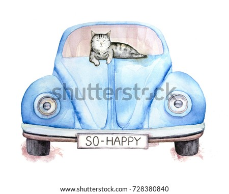 Cute gray striped happy cat lying on a blue old retro car. Title on a car number is