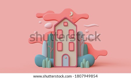 Cute green cozy Eco House with bushes, tall trees, red clouds. Sweet home. Stay Home. Modern cartoon house with windows, blue door. Concept art Spring mood. Hello summer. 3d render in pastel colors.