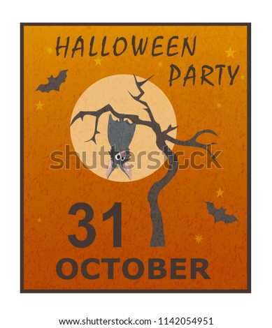 Cute grey bat hanging on a dry tree on background of full moon. Stylish colorful vector illustration of happy Halloween. Template for poster, banner, leaflet, invitation to party, congratulations. #1142054951