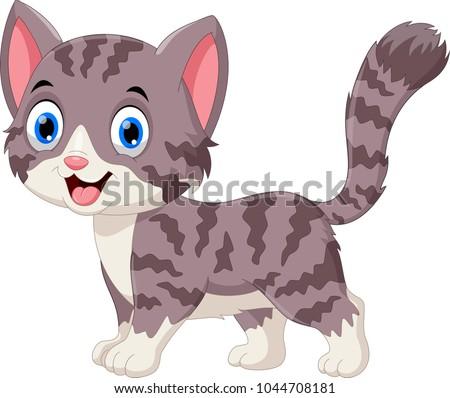 Cute grey cat cartoon #1044708181
