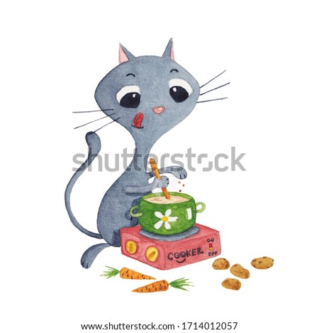Cute grey cat cooking vegetable soup on a small cooker. Watercolor painting. Hand-drawn illustration