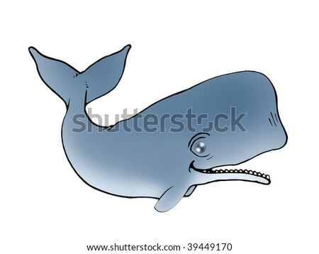 Cute grey Whale isolated white background