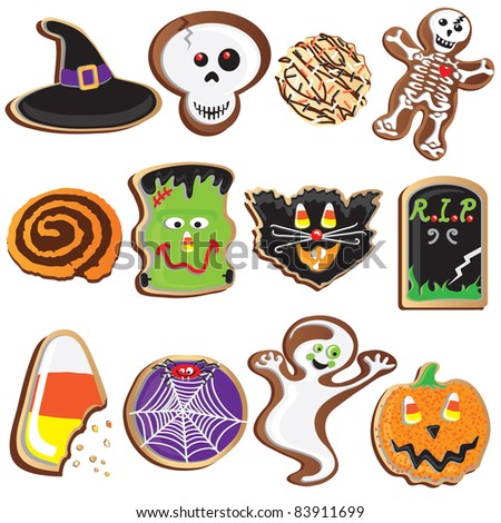 Cute Halloween Cookie Icons