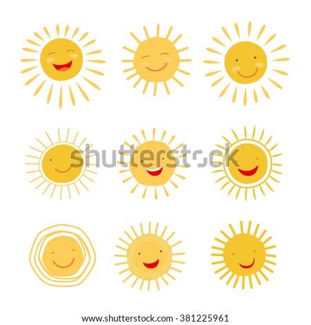Cute hand drawn sun icons
