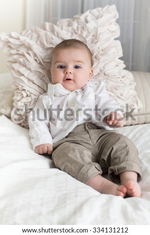 7c50aacc2 Royalty-free 3 month old baby lying down wearing…  361730975 Stock ...
