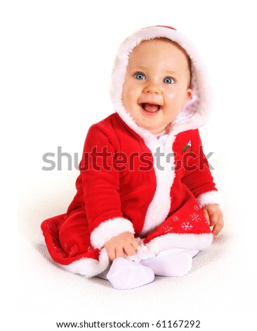Cute happy baby in red Christmas clothes isolated on white