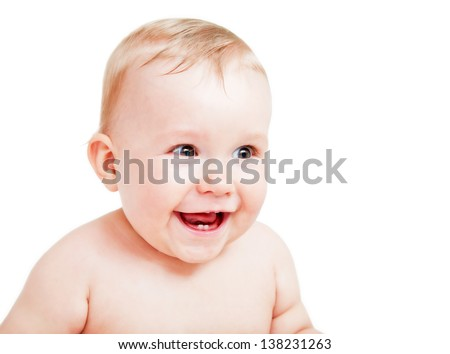 Cute happy baby laughing. Portrait of the boy on white background
