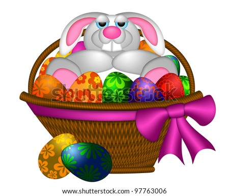 Cute Happy Easter Bunny Rabbit Laying Inside Basket of Colorful FLoral Pattern Eggs Illustration Isolated on White Background