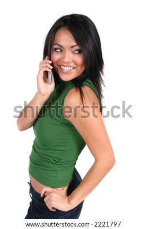 Cute, Happy Girl using a Cell Phone