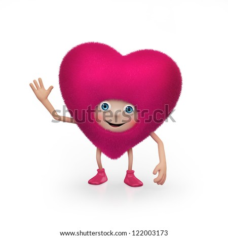 cute happy pink furry heart cartoon character. Valentine's Day greeting.