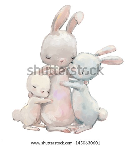 cute hare mom with her hare kids