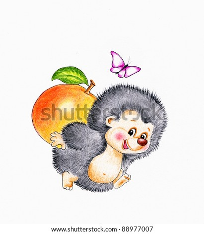 Cute hedgehog with apple