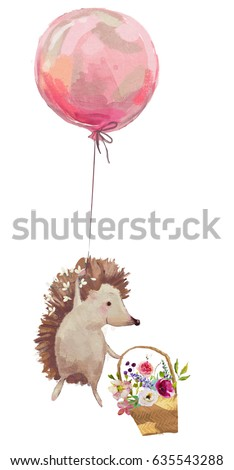 cute hedgehog with balloons and flowers