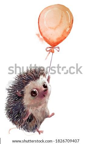 cute heggehog fly with orange balloon