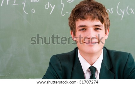 cute high school student in classroom