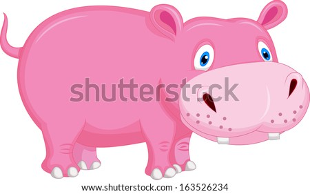 Cute hippo cartoon #163526234