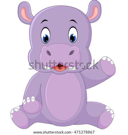 Cute hippo cartoon #471278867