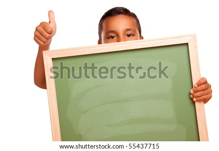 Cute Hispanic Boy Holding Blank Chalkboard and Thumbs Up Isolated on a White Background.