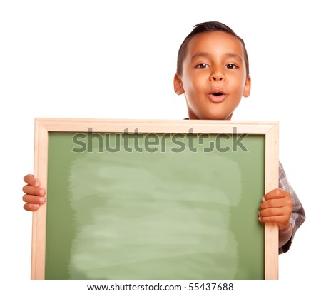 Cute Hispanic Boy Holding Blank Chalkboard Isolated on a White Background.