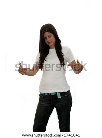 Cute hispanic teen in blank t-shirt
