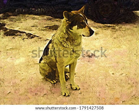 Cute homeless dog sitting in the snow in the style of painting Fauvism