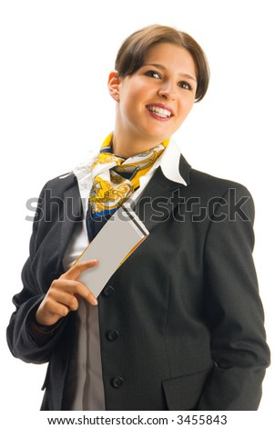 cute hostess in black suit showing some tickets with a great smile