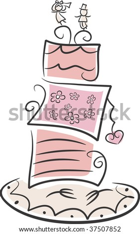 stock photo Cute illustration of a wedding cake in pastel pink colors