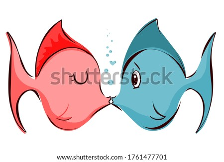 Cute illustration of fish kissing isolated on white background. Great for valentine's day, anniversaries, or just to show your love.