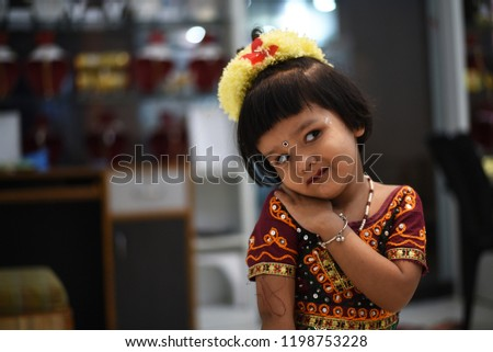 a019babc22 Cute Indian baby girl dresses in traditional clothes and giving some  natural poses. #1198753228