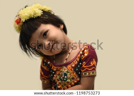 35cce65396 Cute Indian baby girl dresses in traditional clothes and giving some  natural poses. #1198753273
