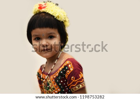 c68538a8ec Cute Indian baby girl dresses in traditional clothes and giving some  natural poses. #1198753282