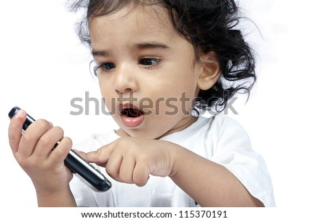 Cute Indian Baby Playing with Phone