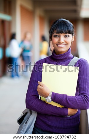 cute indian high school girl in school