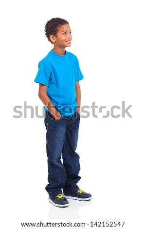 cute indian little boy looking up isolated over white background