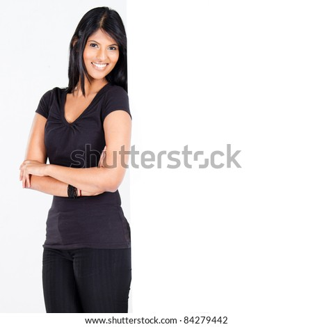 cute indian woman lean on blank white board
