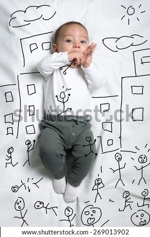 Cute infant baby boy drawn as a giant eating little people sketch
