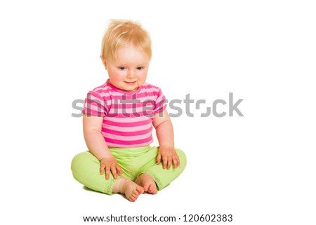 Cute infant girl isolated on white