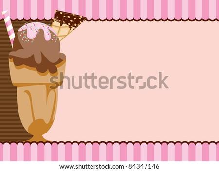 Cute invitation with a ice cream milkshake motif ideal for a girl's party invitation, dessert recipe card or fun menu background.