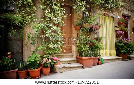 cute italian street - stock photo