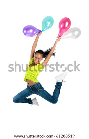 Cute jumping girl isolated on white background