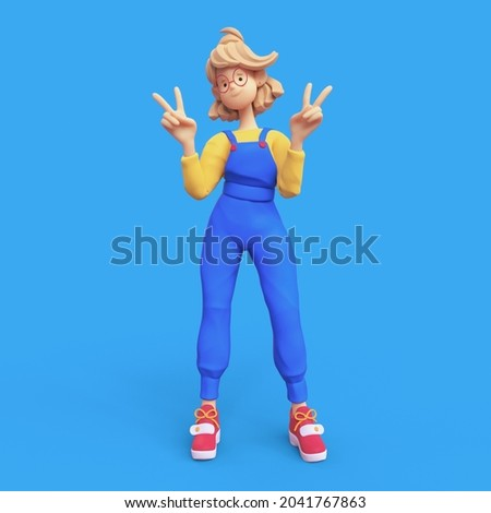 Cute kawaii smiling positive casual blonde girl in red glasses wearing blue apron, yellow t-shirt shows fingers doing peace sign, victory symbol, number two, successful person. 3d render minimal style