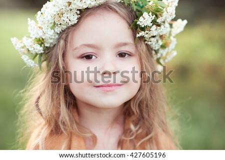 Miraculous Cute Kid Girl 4 5 Year Old With Flowers In Hairstyle Outdoors Hairstyle Inspiration Daily Dogsangcom