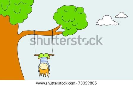 Cute kid swinging, for vector version see image no. 64142527