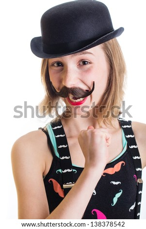 cute kid with a fake mustache and a bowler hat - stock photo