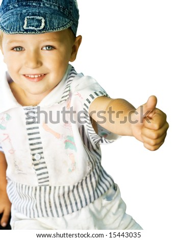 Cute kid with blue eyes showing ok sign, isolated on white