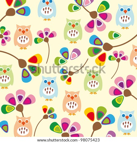 Cute kids background with flowers and owls