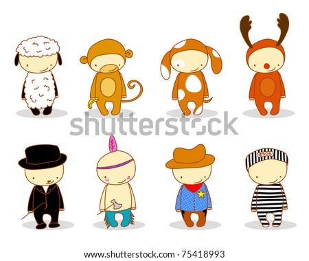 cute kids in costume, raster version